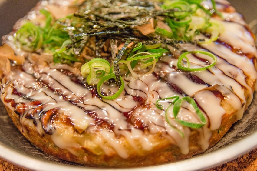 close up of Okonomiyaki