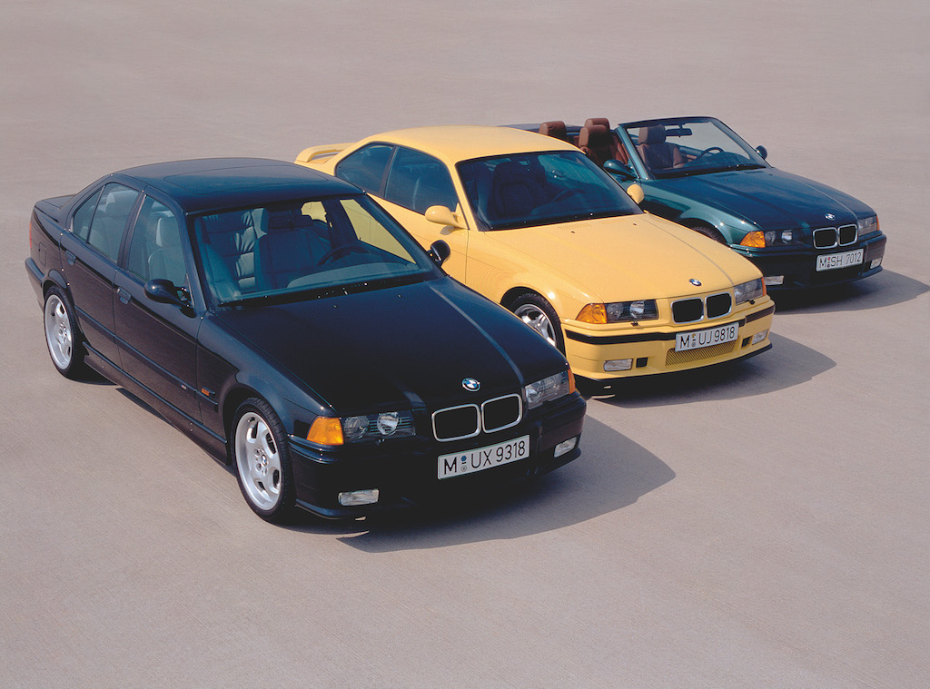 BMWs lined up in a row