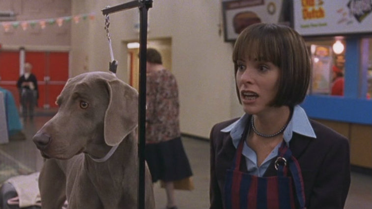 Parker Posey in Best in Show wearing an apron in a gymnasium looking surprised next to a Weimaraner dog