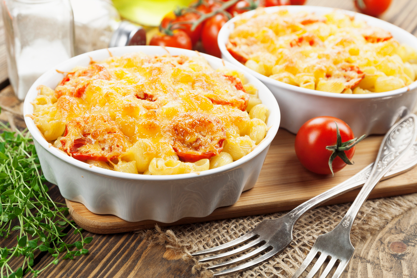 baked pasta in bowls