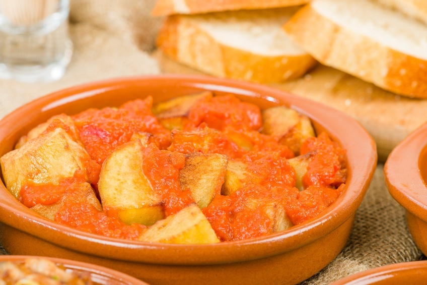 Close up of Patatas Bravas