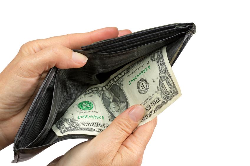 One Dollar Bill in a wallet