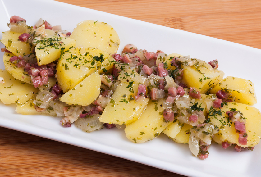 Potato salad in a white tray