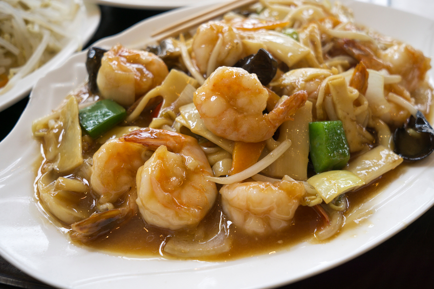 close up of prawn chop suey