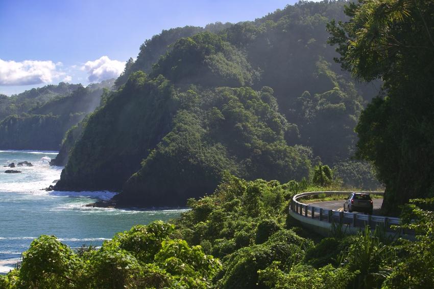 driving along the Road to Hana in Maui, Hawaii