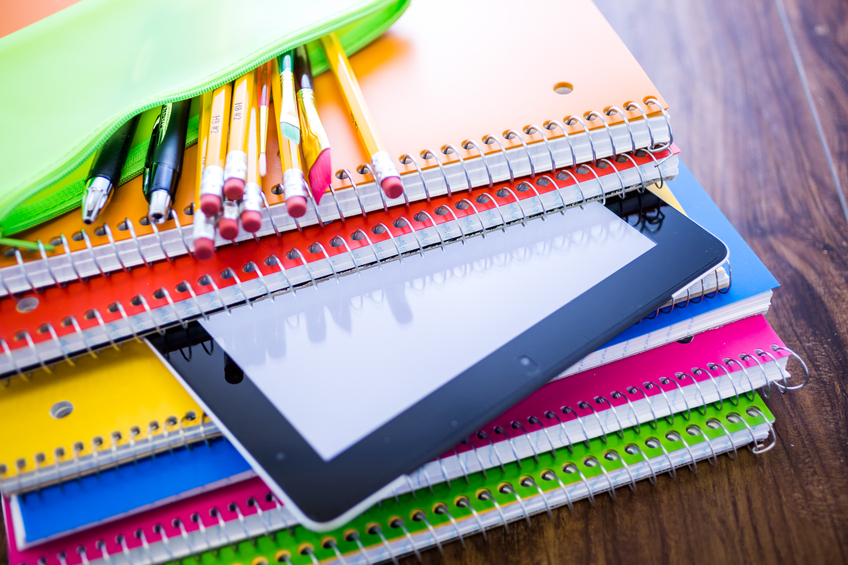 pencils and notebooks in variety of colors