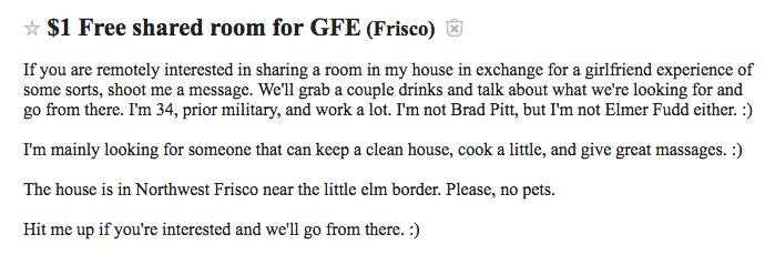 Roommate wanted ad on Craigslist