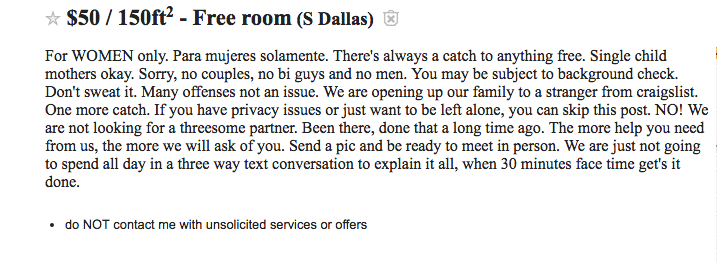 Craigslist ad for roommate
