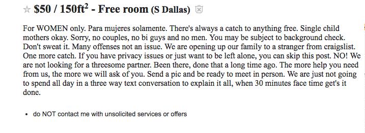 Craigslist ad for roommate