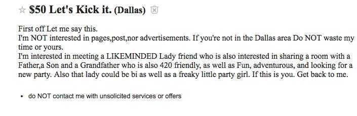 Roommate ad on Craigslist