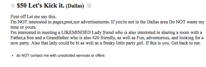 Roommate ad on Craigslist