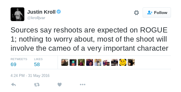 Justin Kroll Tweets About Rogue One