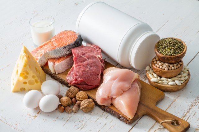 protein sources including meat, fish, eggs, cheese, and nuts