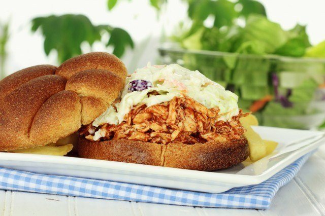 barbecue pulled chicken sandwich with slaw