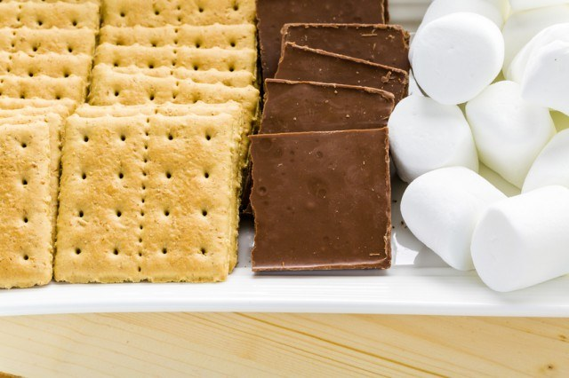 close up of smores and marshmallows