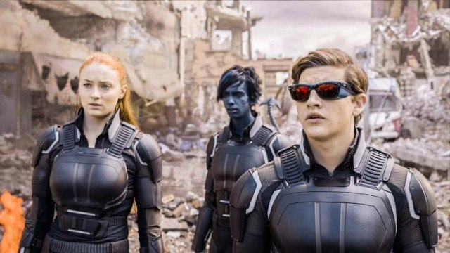 The young X-Men stand among rubble, all looking up in awe.