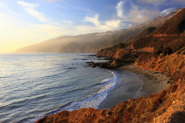 Highway 1 in California as the sun sets