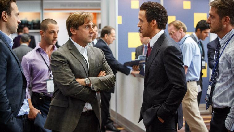 Steve Carrell and Ryan Gosling stare each other down in The Big Short