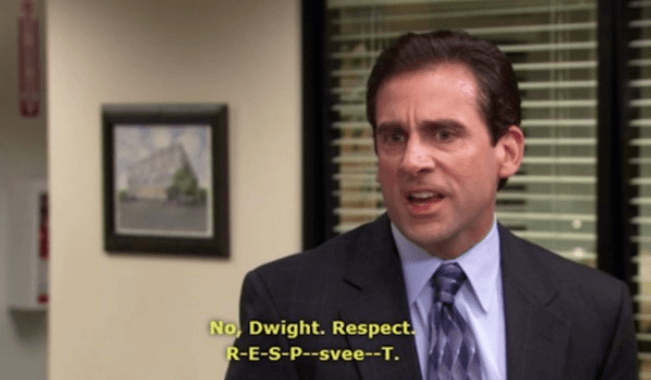 "Michael Scott in ""The Office"" trying to spell respect"