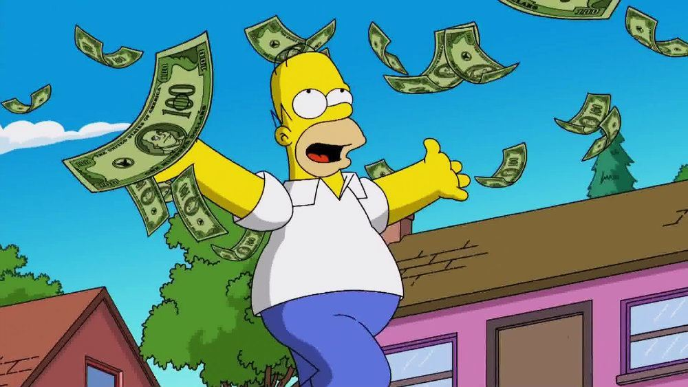 Homer Simpson gleefully tosses money into the air