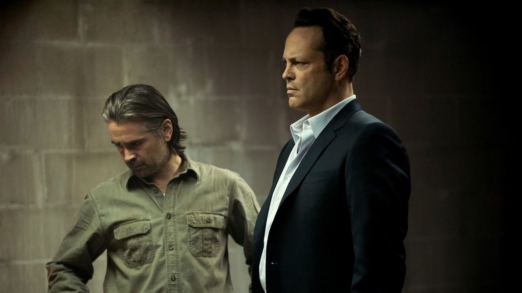 Colin Farrell and Vince Vaughn in True Detective, standing at a crime scene and looking grim