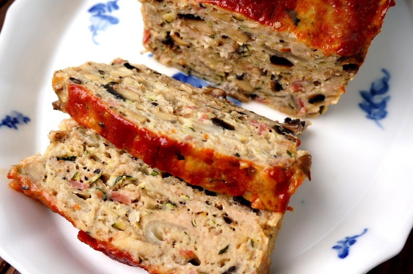 Turkey meatloaf in a dish
