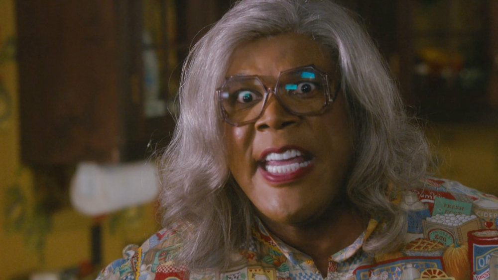 Tyler Perry looks shocked as Madea in Boo A Madea Halloween