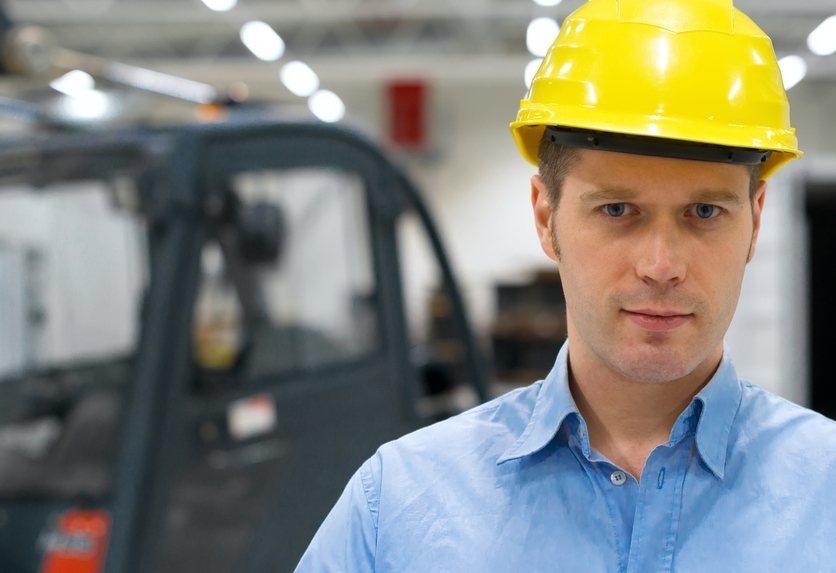 man wearing yellow hard hat