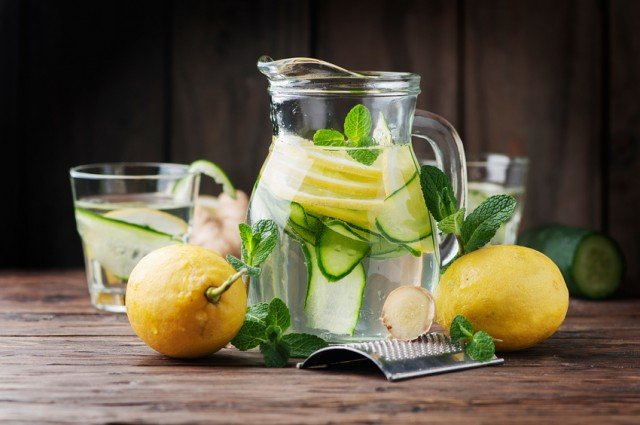 cucumber and lemon infused water in pitcher