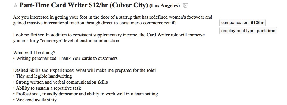 Part-time card writer ad from Craigslist Los Angeles