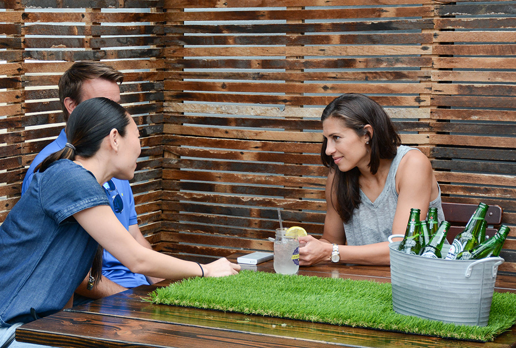 Carli Lloyd relaxing at a Heineken event