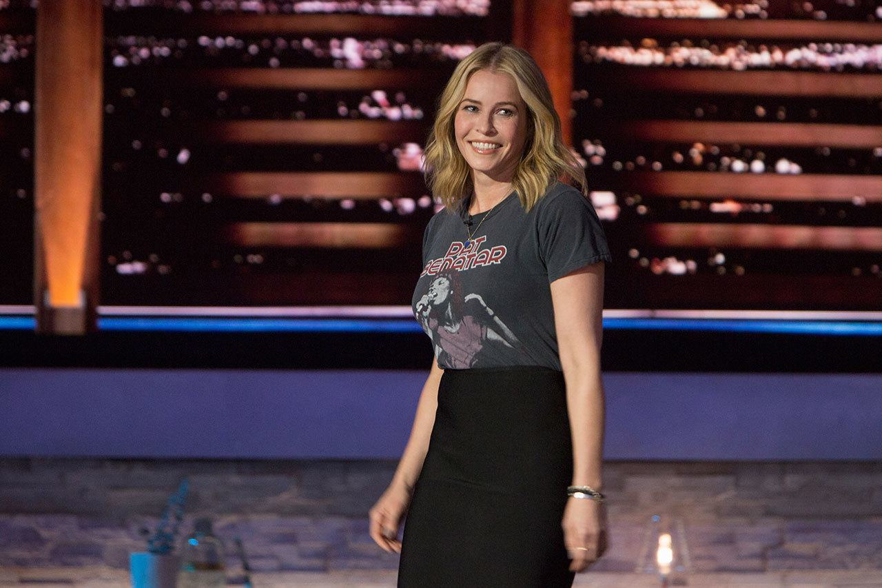 Chelsea Handler standing and smiling