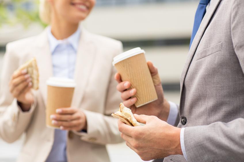 business couple having coffee