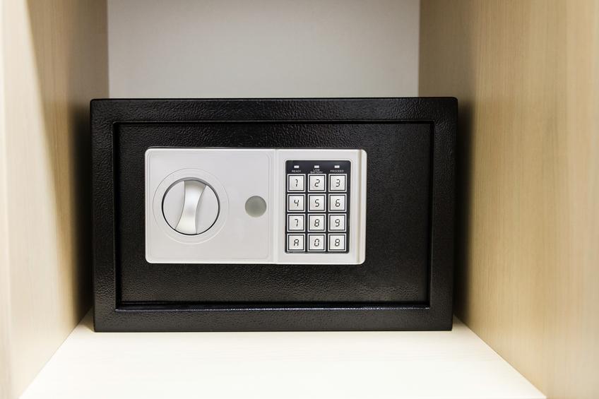 compact safe on a shelf