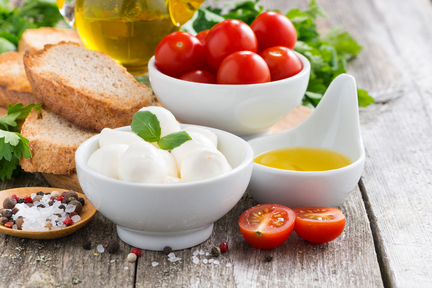 mozzarella and ingredients for salad