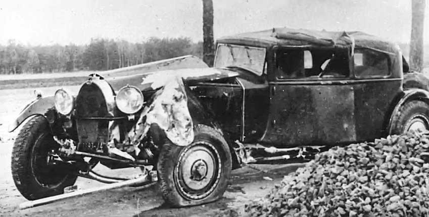 Ettore Bugatti's rebodied Bugatti Royale Prototype after cras