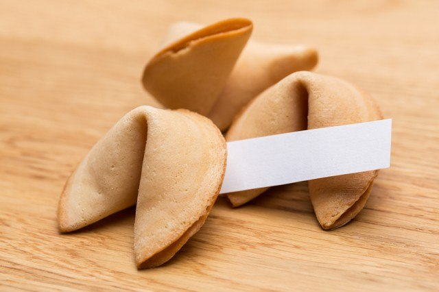 fortune cookies with the fortune sticking out