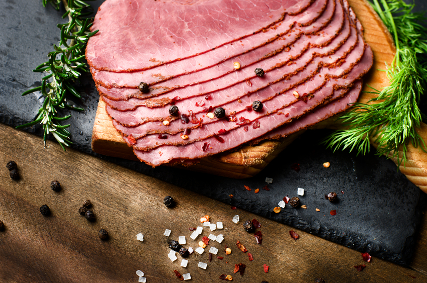 close up of fresh sliced beef pastrami