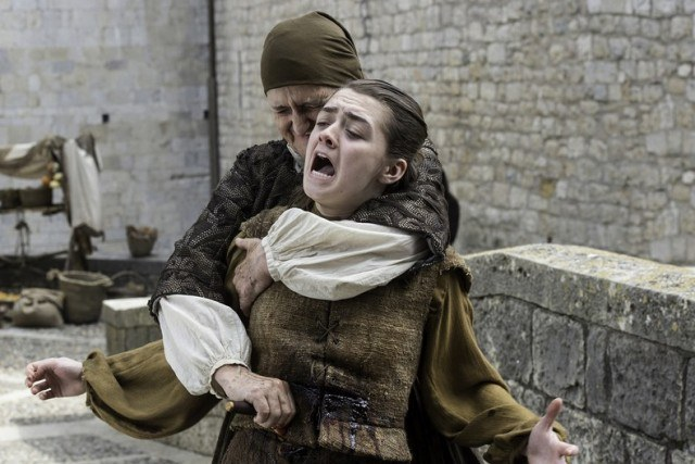 The Waif stabs Arya Stark in a scene from 'Game of Thrones'