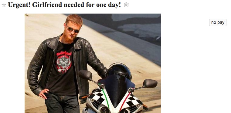 Girlfriend for a day ad from Craigslist Los Angeles