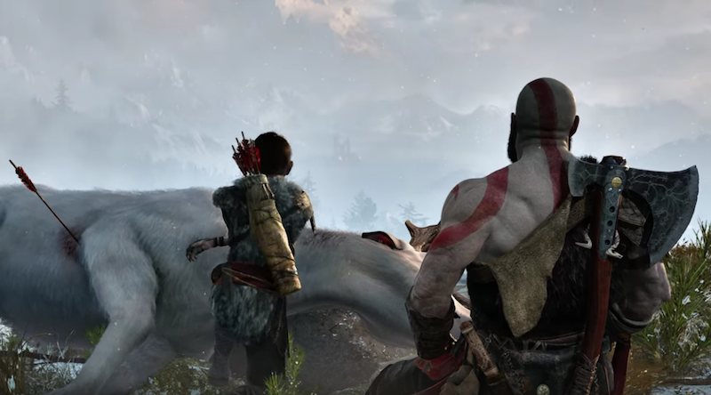 Kratos and son in God of War for PS4.