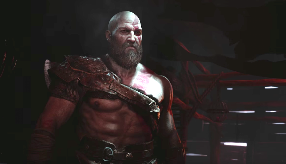 A newly bearded Kratos in PS4's God of War.