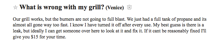 Grill fixer ad from Craigslist Los Angeles