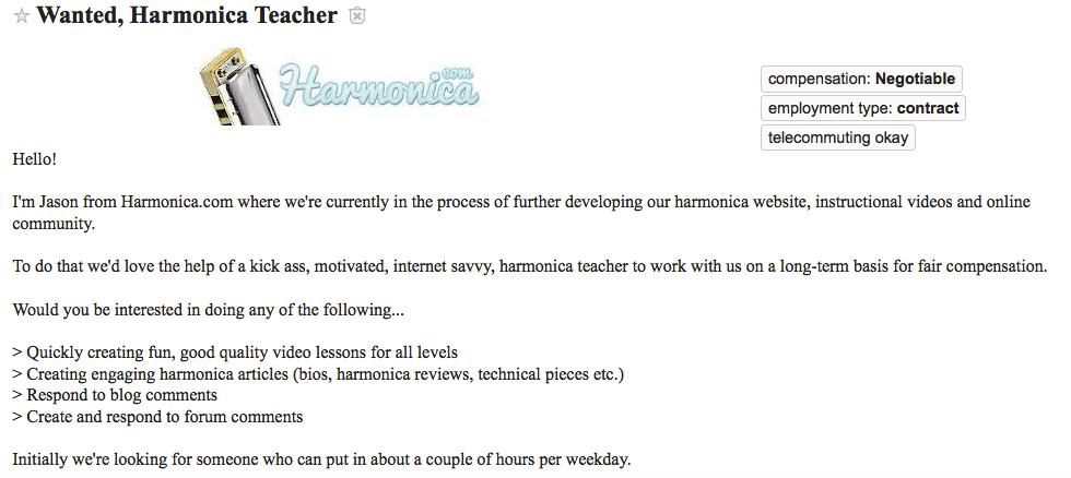 Harmonica teacher want ad from Craigslist Los Angeles