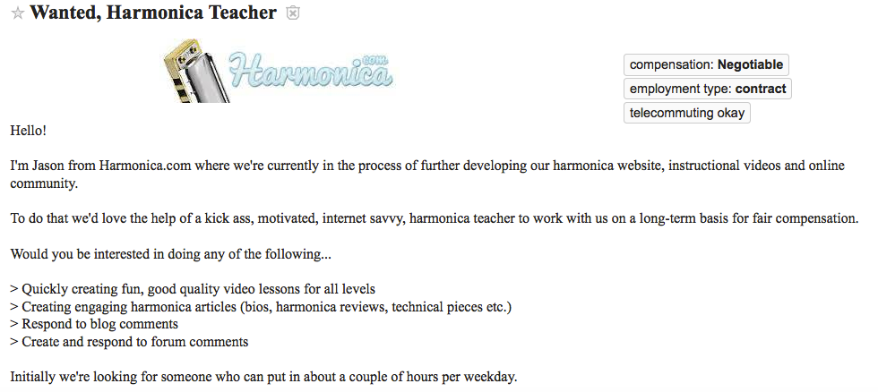 Harmonica teacher want ad from Craigslist Los Angeles