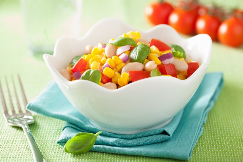 corn salad with tomato onion