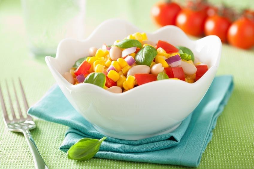corn salad with tomato onion