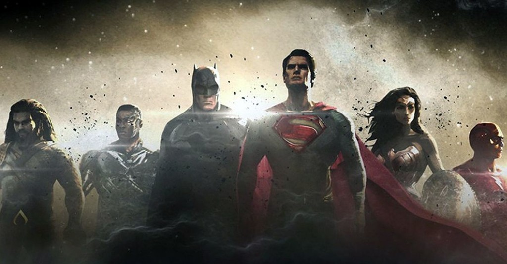 the stars of the Justice League Movie stand in a row