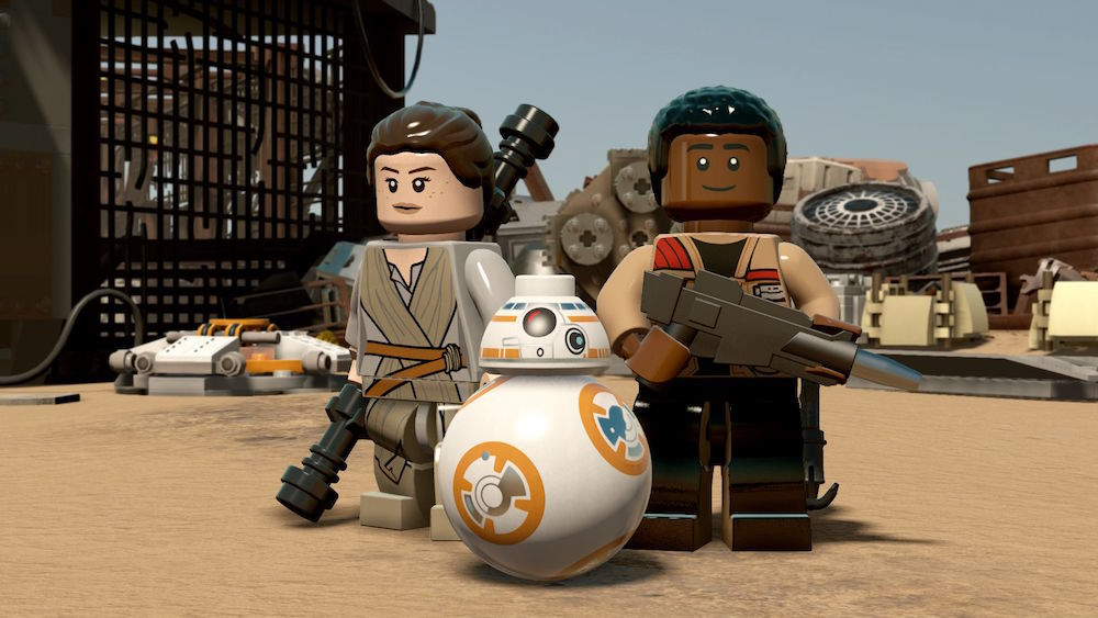 Rey, Finn, and BB8 in Lego Star Wars: The Force Awakens.
