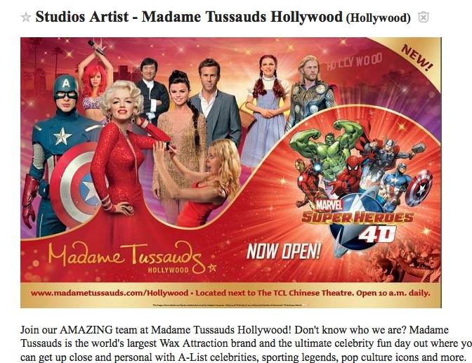 Craigslist Los Angeles ad for Madame Tussauds studio artits